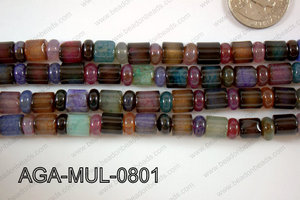 Agate- Multicolor Rondel and Tube Faceted 8mm AGA-MUL-0801