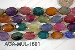 Agate- Multicolor Oval Faceted 13x18mm AGA-MUL-1801