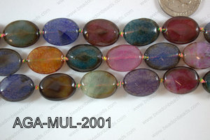 Agate- Multicolor Oval Faceted 15x20mm AGA-MUL-2001