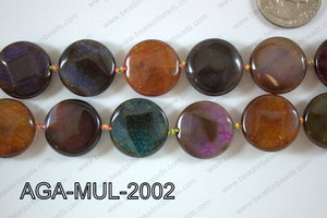 Agate- Multicolor Coin Faceted 20mm AGA-MUL-2002