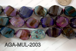 Agate- Multicolor Nugget Faceted 18x20mm AGA-MUL-2003