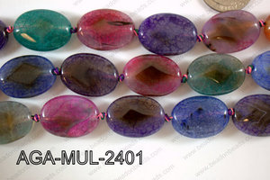 Agate- Multicolor Oval Faceted 18x24mm AGA-MUL-2401