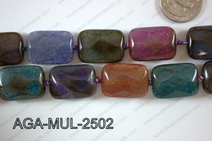 Agate- Multicolor Rectangle Faceted 18x25mm AGA-MUL-2502