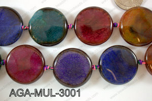 Agate- Multicolor Coin Faceted 30mm AGA-MUL-3001