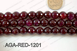Red Agate Round Faceted 12mm AGA-RED-1201