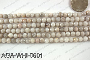 Round faceted white lace agate 6mm AGA-WHI-0601