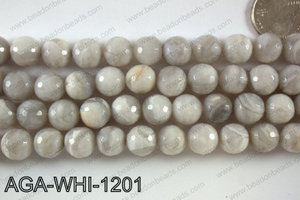 Round faceted white lace agate 12mm AGA-WHI-1201