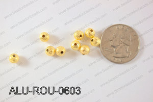 Aluminium  Beads Round 6mm Gold  ALU-ROU-0603