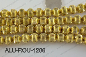 Aluminium Bead Gold 12mm ALU-ROU-1206