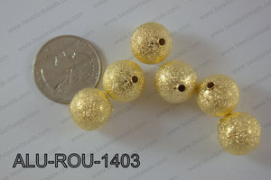 Aluminium  Beads Round 14mm gold ALU-ROU-1403