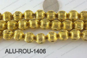 Aluminium Bead Gold 14mm ALU-ROU-1406