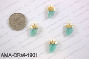 Amazonite charm with gold top, 10x18mm AMA-CRM-1901