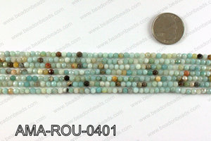 Round faceted Amazonite beads 4mm AMA-ROU-0401