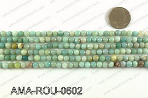 Round faceted Amazonite beads 6mm AMA-ROU-0602