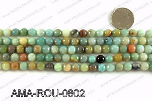 Round faceted Amazonite beads 8mm AMA-ROU-0802