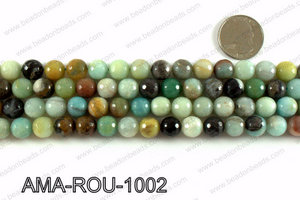 Round faceted Amazonite beads 10mm AMA-ROU-1002