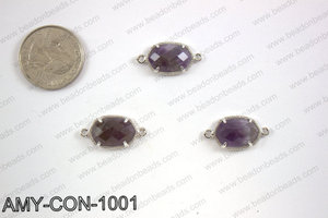 Amethyst connector with silver trim, 14x23mm AMY-CON-1001