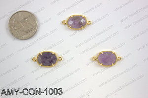 Amethyst connector with gold trim, 14x23mm AMY-CON-1003