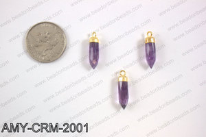 Amethyst Charm with gold top, 5x22mm AMY-CRM-2001