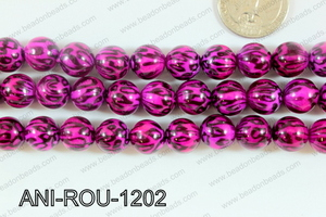 Animal Print Beads Round Pink 12mm ANI-ROU-1202