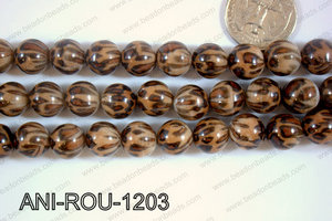 Animal Print Beads Round Brown 12mm ANI-ROU-1203