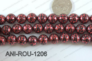 Animal Print Round 12mm metallic red ANI-ROU-1206