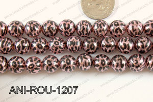 Animal Print Round 12mm metallic pink ANI-ROU-1207