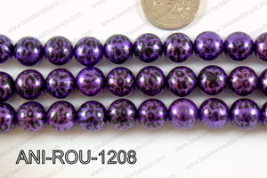 Animal Print Round 12mm metallic purple ANI-ROU-1208