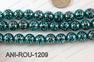 Animal Print Round 12mm metallic blue ANI-ROU-1209