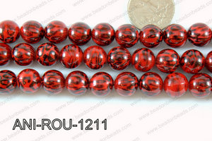 Animal Print Round 12mm red ANI-ROU-1211