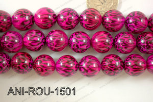 Animal Print Round Pink 15mm ANI-ROU-1501