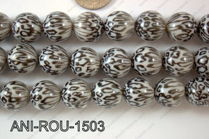 Animal Print Round Black and white 15mm ANI-ROU-1503