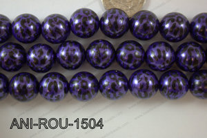 Animal Print Round Purple 15mm ANI-ROU-1504
