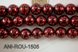 Animal Print Round Red 15mm ANI-ROU-1505