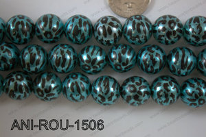 Animal Print Round Blue 15mm ANI-ROU-1506