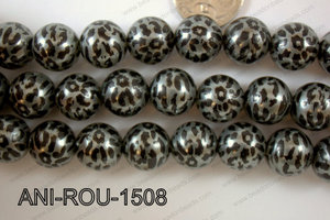 Animal Print Round Silver 15mm ANI-ROU-1508