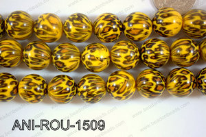 Animal Print Beads Round Yellow 15mm ANI-ROU-1509