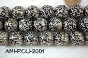 Animal Print Resin Beads 20mm Black white ANI-ROU-2001