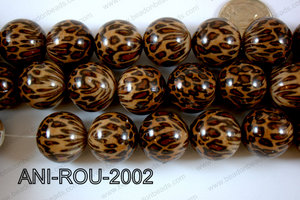 Animal Print Resin Beads 20mm Brown ANI-ROU-2002