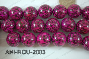 Animal Print Resin Beads 20mm Pink ANI-ROU-2003