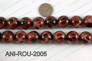 Animal Print Beads Round Red 20mm ANI-ROU-2005
