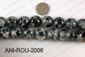 Animal Print Beads Round Grey 20mm ANI-ROU-2006
