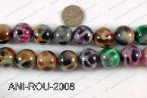 Animal Print Beads Round Multicolor 20mm ANI-ROU-2008