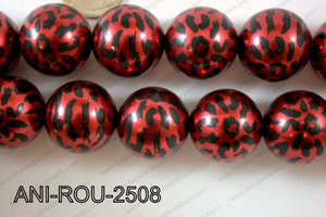 Animal Print Round Red 25mm ANI-ROU-2508