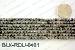 Black Labradorite faceted round 4mmBLK-ROU-0401