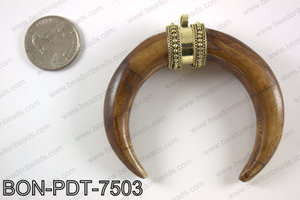 Bone crescent double horn pendant  BON-PDT-7503