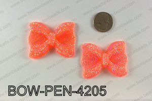 Acrylic Rhinestone Bow Pendant, Orange 42x52mm BOW-PEN-4205