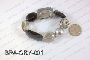 Bracelet with crystals and rhinestone ball BRA-CRY-001