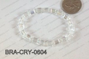 Crystal Cube Bracelet Clear AB 6mm BRA-CRY-0604