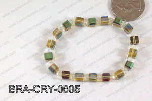 Crystal Cube Bracelet Green/Wine 6mm BRA-CRY-0605